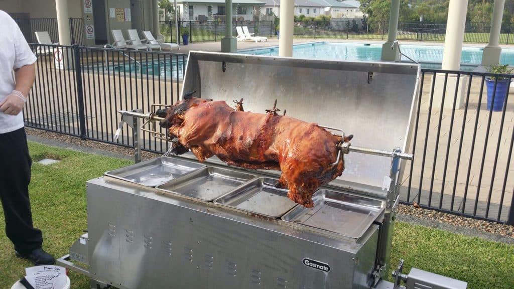 Roasting Pig on a Spit