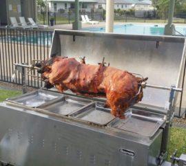 Pig Roasting on a Spit